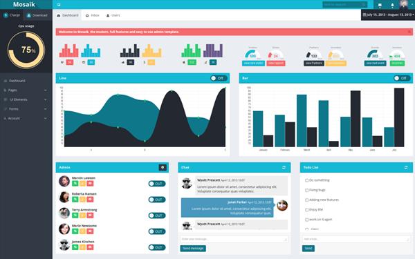 Admin &amp; Dashboard Themes - Mosaik - <p>Responsive Admin Template</p>