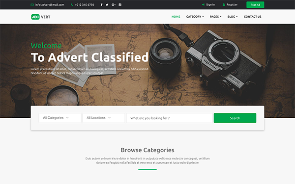 Advert Classified Ads Template Wrapbootstrap