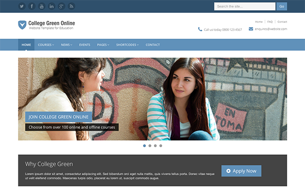 College Green - Education Template | WrapBootstrap