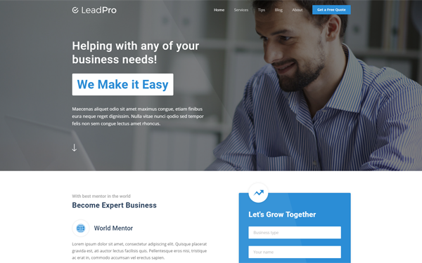 LeadPro Lead Generation Template WrapBootstrap - Lead generation website template