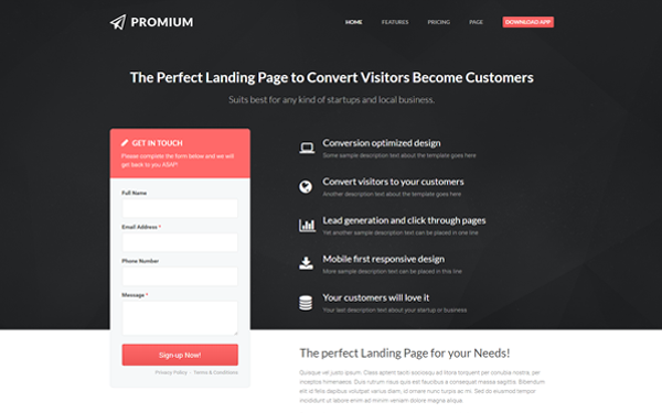 Promium professional conversion template wrapbootstrap for Getbootstrap com templates