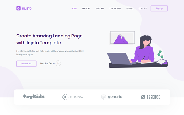 Injeto Minimal Landing Page Template By Themesdesign