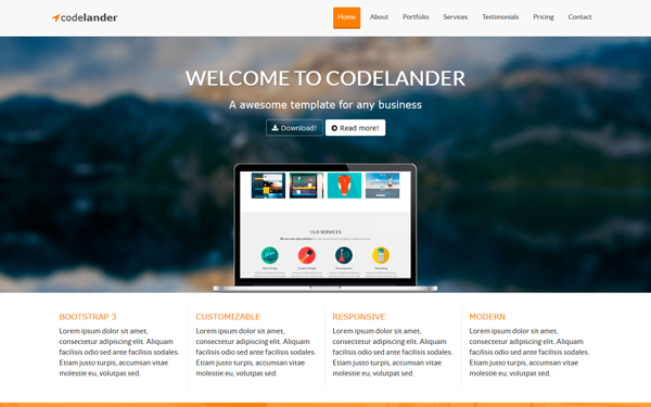 Codelander One Page Template Landing Pages WrapBootstrap - Single page landing page template