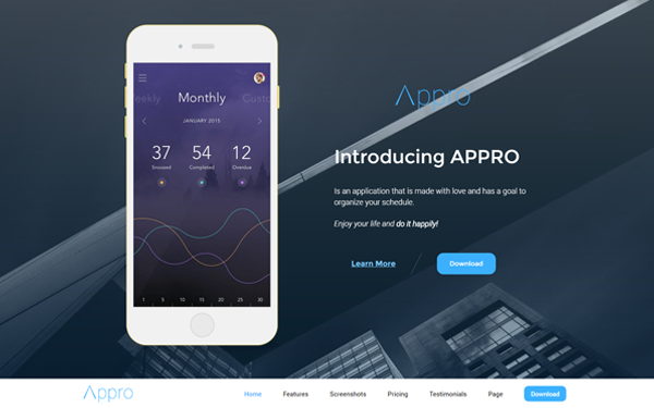 Appro Responsive Showcase Landing Page Landing Pages