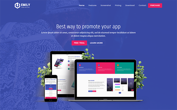 Emily app landing page template