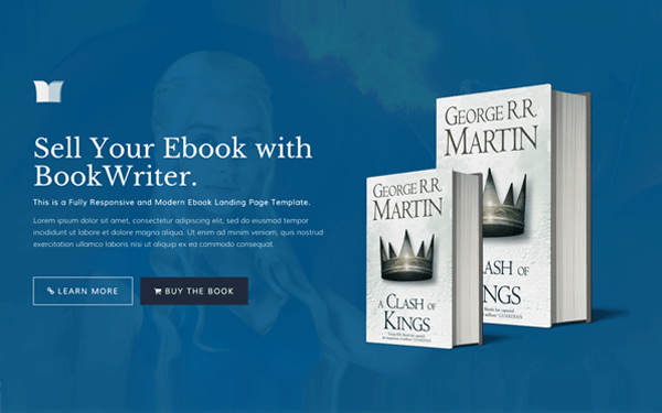 BookWriter - Ebook Landing Page - Live Preview - WrapBootstrap