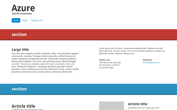 azure minimal template bootstrap responsive