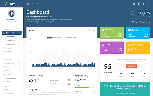 jquery admin panel template free download - nifty responsive admin template bootstrap admin