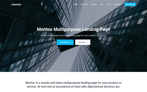 Mentos - Multipurpose Landing Page - Live Preview - WrapBootstrap