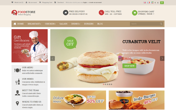 Pav Food Store OpenCart Theme
