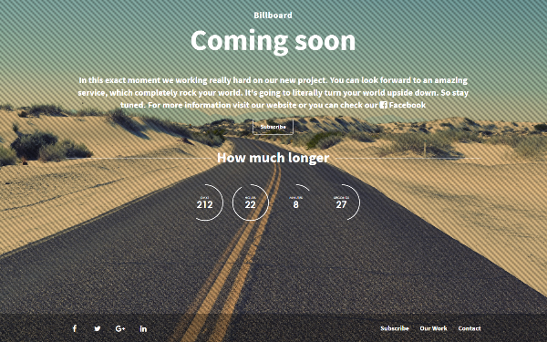 Billboard - The Coming Soon Theme - Live Preview - WrapBootstrap