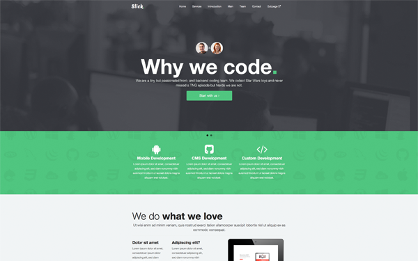 slick one page theme wrapbootstrap