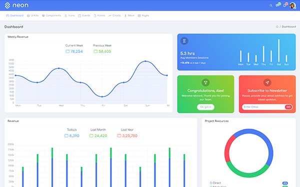 Neon - Bootstrap 4 UI Kits & Admin Template