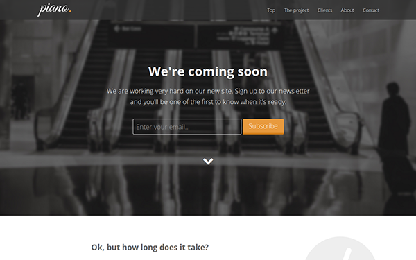 Piano - Coming Soon Landing Page | WrapBootstrap