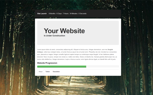 Responsive Under Construction Page Wrapbootstrap