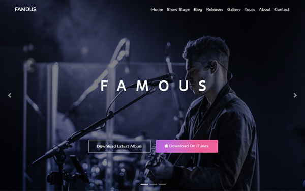 DOWNLOAD - Famous - One Page Music Band Template