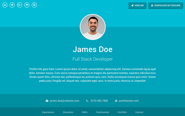 Sphere resume cv bootstrap 4 bootstrap portfolio and for Bootstrap portfolio templates free