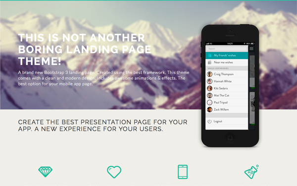 Diamond - Bootstrap 3 Landing Page | Bootstrap Landing Pages ...