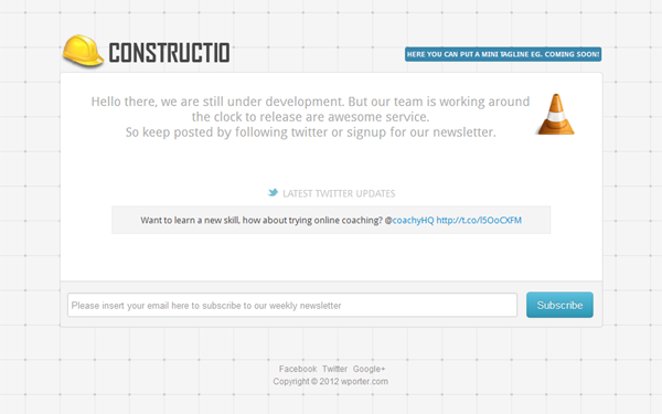Constructio - Coming Soon Page