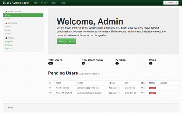 Strass User Management Wrapbootstrap