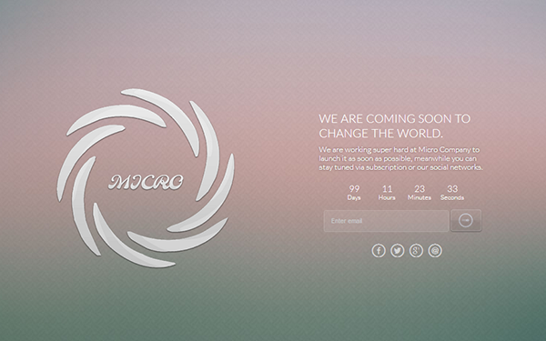 Micro - WordPress Coming Soon Theme
