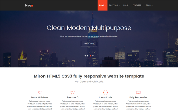 Miron - Responsive Website Template - Live Preview - WrapBootstrap