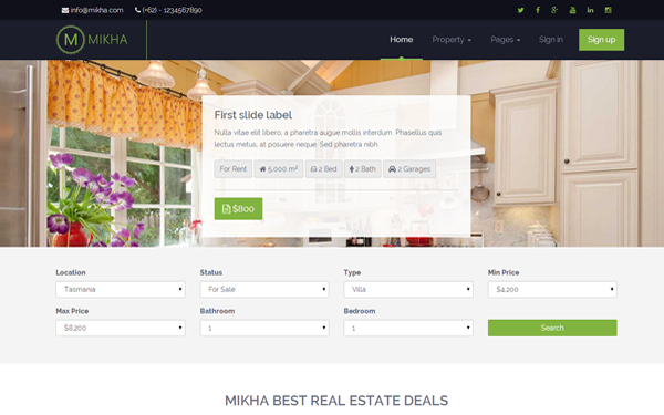 Mikha - Responsive Real Estate Theme - Live Preview - WrapBootstrap