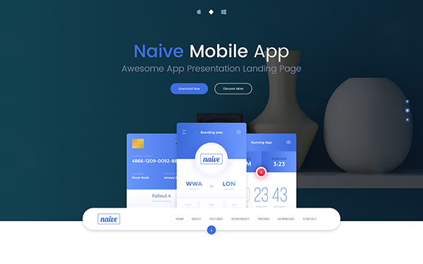 Naive clean app landing page