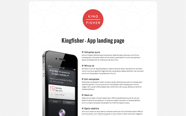 Kingfisher - App Landing Page - Live Preview - WrapBootstrap