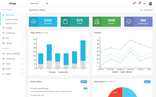 Float - Responsive Admin / Light & Dark - Live Preview - WrapBootstrap