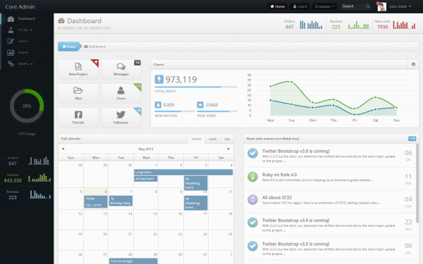 Core Admin Admin Template Wrapbootstrap