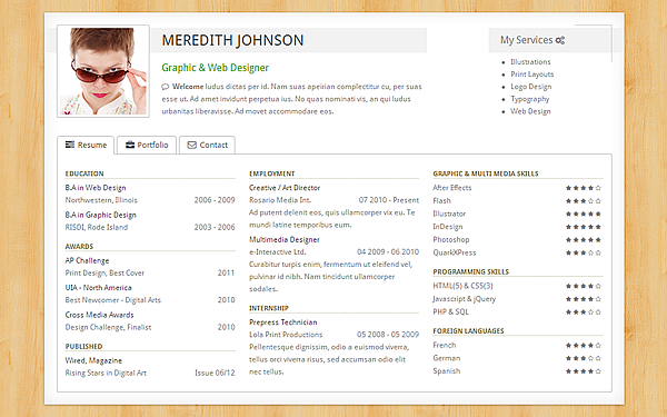 freelancer resume portfolio bootstrap portfolio and