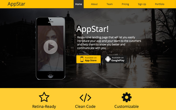 AppStar Responsive Landing Page - Live Preview - WrapBootstrap