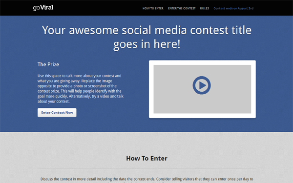 goViral - Social Media Contest Page - Live Preview - WrapBootstrap