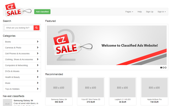 CZSale - Classified Ads Website Template