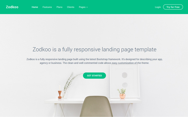 Zodkoo Responsive Landing Page Template WrapBootstrap - Bootstrap landing page template