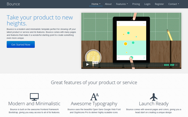 Bounce Landing Page - Live Preview - WrapBootstrap