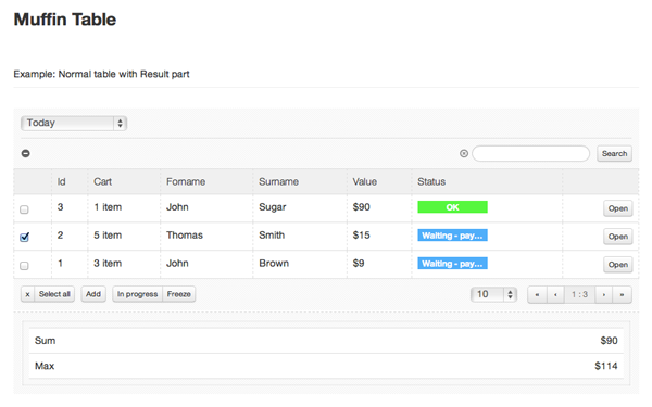 Muffin Table - Live Preview - WrapBootstrap