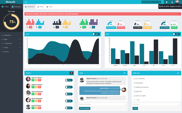 Mosaik responsive admin template admin dashboards for Bootstrap table responsive example
