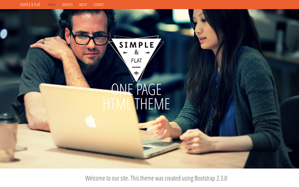 Simple & Flat - One Page Theme - Live Preview - WrapBootstrap