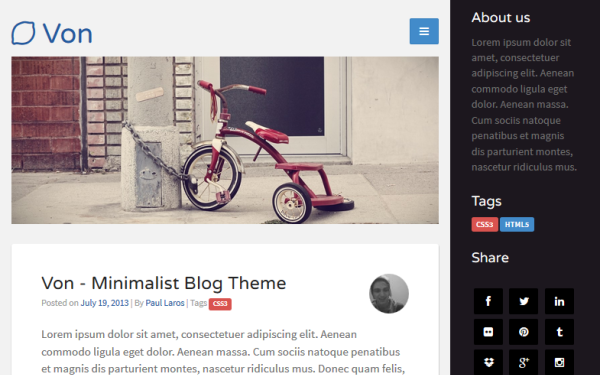 Von - Minimalist Blog Theme - Live Preview - WrapBootstrap