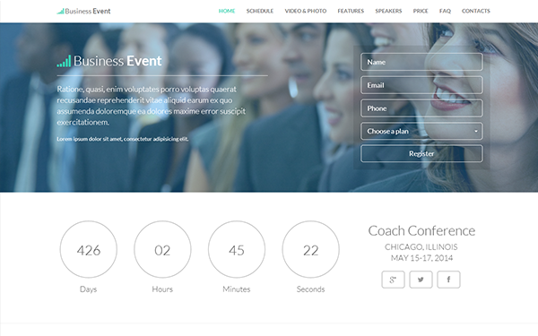 Business event responsive landing page bootstrap landing pages business event responsive landing page pronofoot35fo Image collections