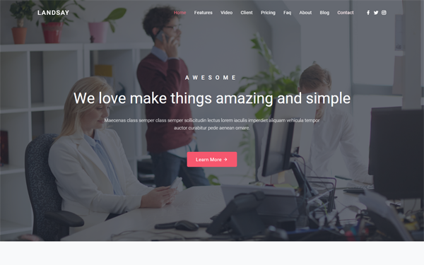 Landsay - Bootstrap 4 Landing Page Template