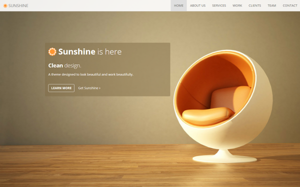 Sunshine - One Page Responsive Theme - Live Preview - WrapBootstrap