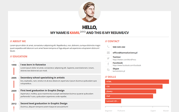 3ColorResume Personal ResumeCV WrapBootstrap