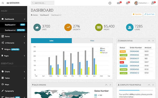 QueenAdmin - Beautiful Admin Dashboard - Live Preview - WrapBootstrap