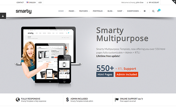 Smarty - Website + Admin + RTL