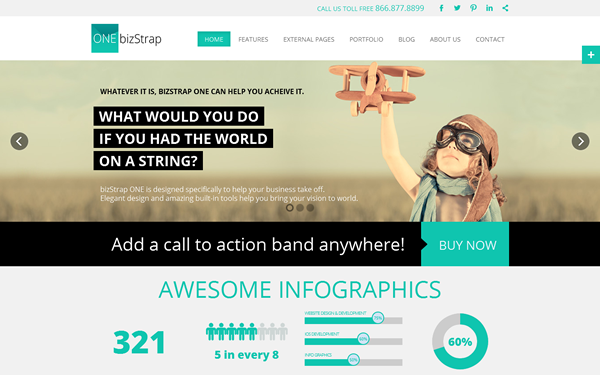 one onepage business infographics wrapbootstrap