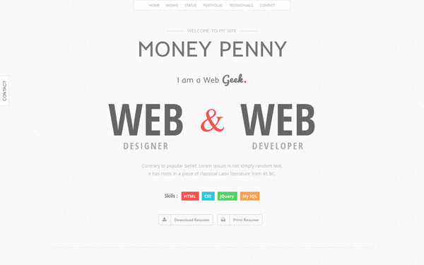 Money Penny - Resume & Portfolio Theme