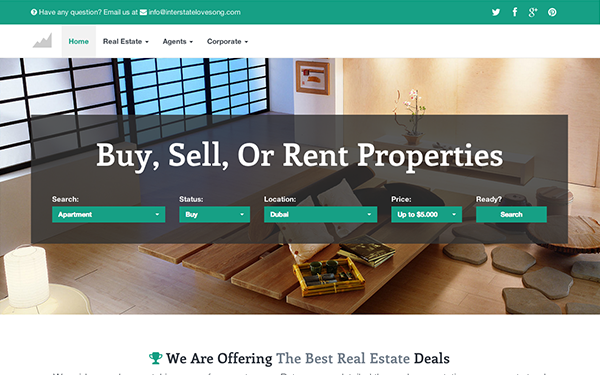 Interstate - Real Estate Bootstrap Theme - Live Preview - WrapBootstrap